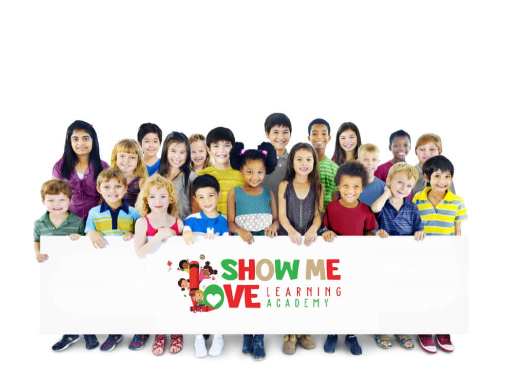 diverse children holding poster